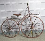 An original antique 1860s Velocipede of French design professionally made by artisan craftsman and