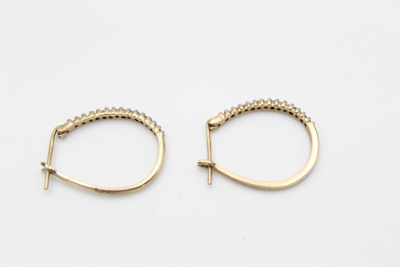 2 x 9ct gold diamond earrings inc pearl, hoops 3.9g - Image 7 of 9