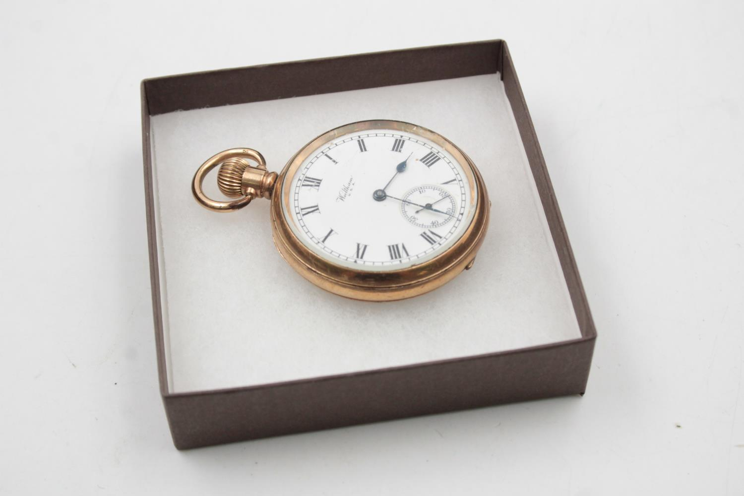 Vintage Gents WALTHAM Rolled Gold Open Face POCKET WATCH Hand-Wind (102g)