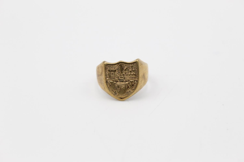 vintage 9ct gold shield crest signet ring 6g Size R