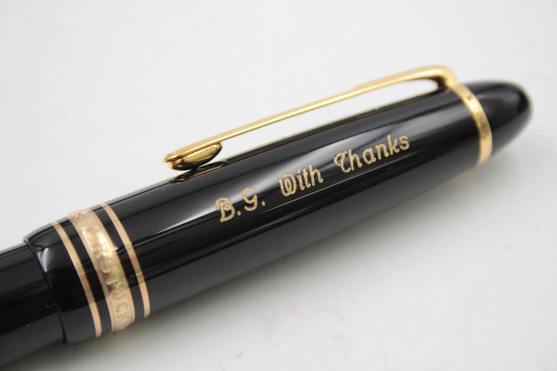 MONTBLANC Meisterstuck Black FOUNTAIN PEN w/ 14ct White Gold Nib WRITING - Image 8 of 9