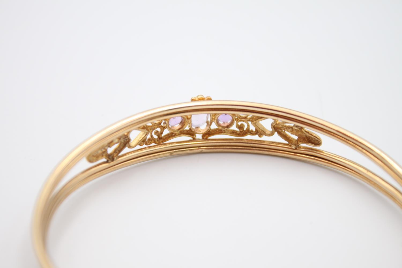 vintage 9ct gold amethyst set torque bangle 6.3g - Image 3 of 5