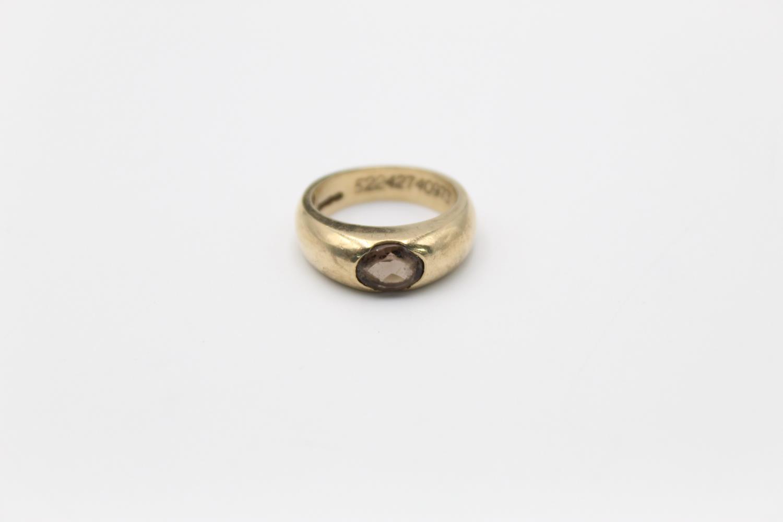 vintage 9ct gold smoky quartz signet style ring 7g Size O