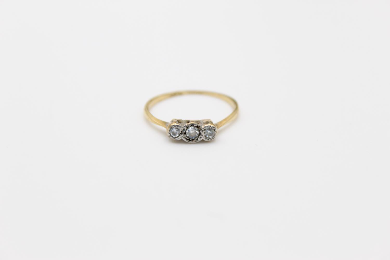 Vintage 18ct Gold & platinum trilogy diamond ring 1.4g Size J