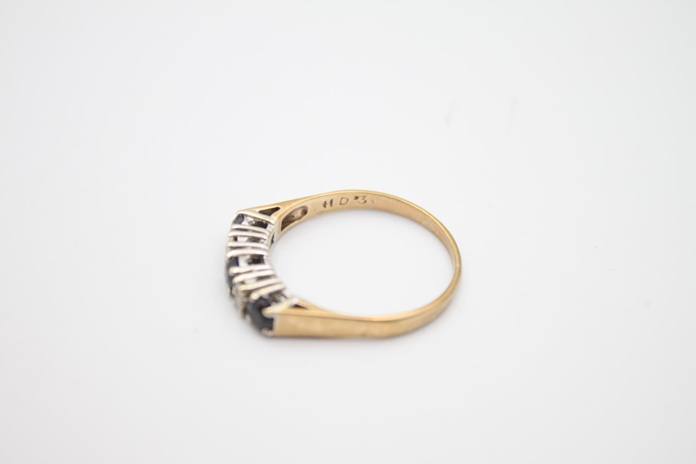 vintage 9ct gold diamond & sapphire 5 stone ring 2g Size P - Image 3 of 6