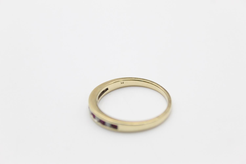 9ct Gold ruby & diamond half eternity ring 2.3g Size P - Image 4 of 5
