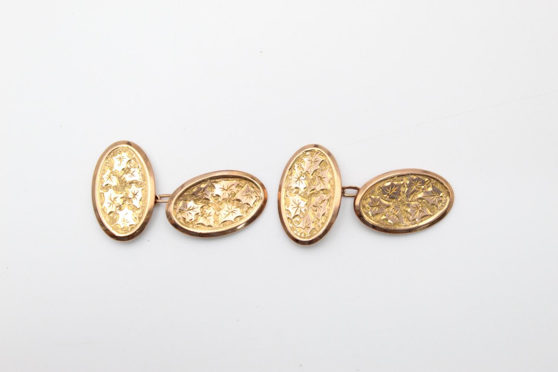 antique hallmarked 1811 9ct gold hand etched icy lef design cufflink 2.3g
