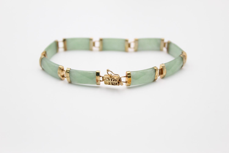 9ct gold Chinese jade panel bracelet 9.2g