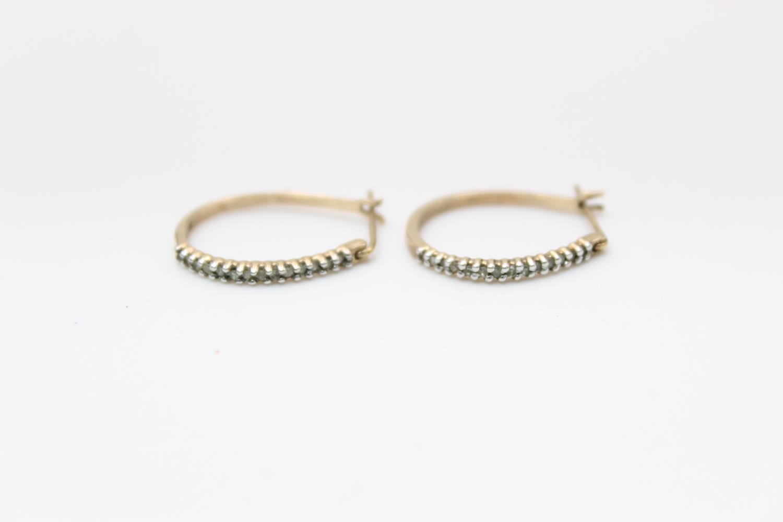 2 x 9ct gold diamond earrings inc pearl, hoops 3.9g - Image 5 of 9
