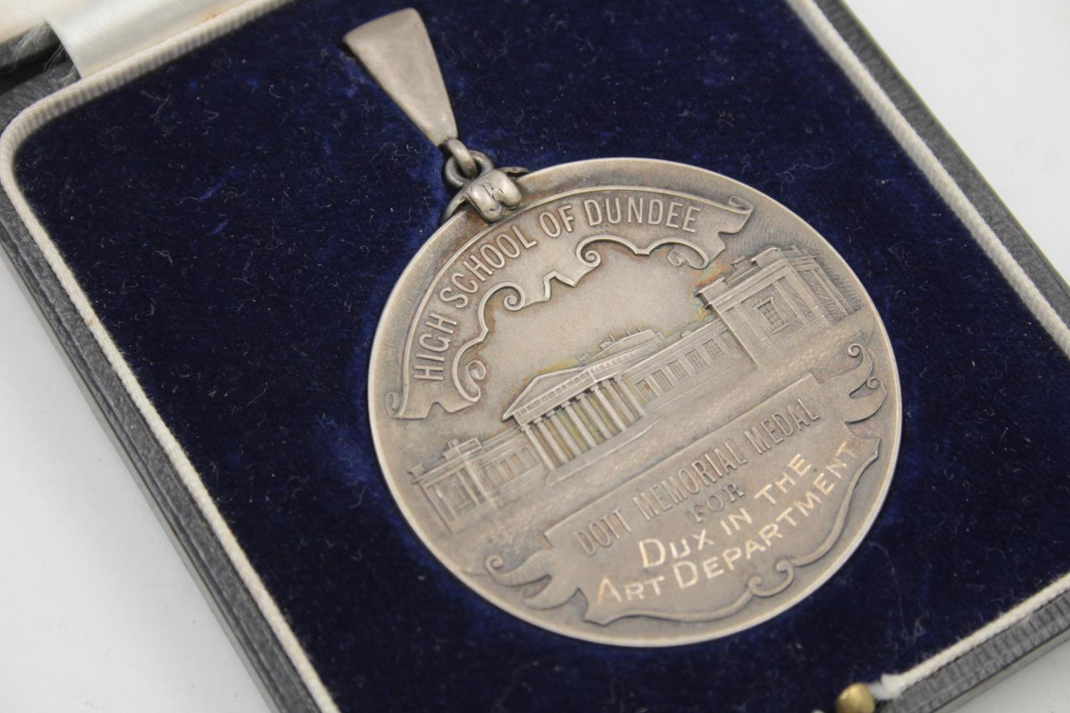Vintage .925 STERLING SILVER Dundee High School Dott Memorial Medal Boxed (57g) - Image 2 of 5