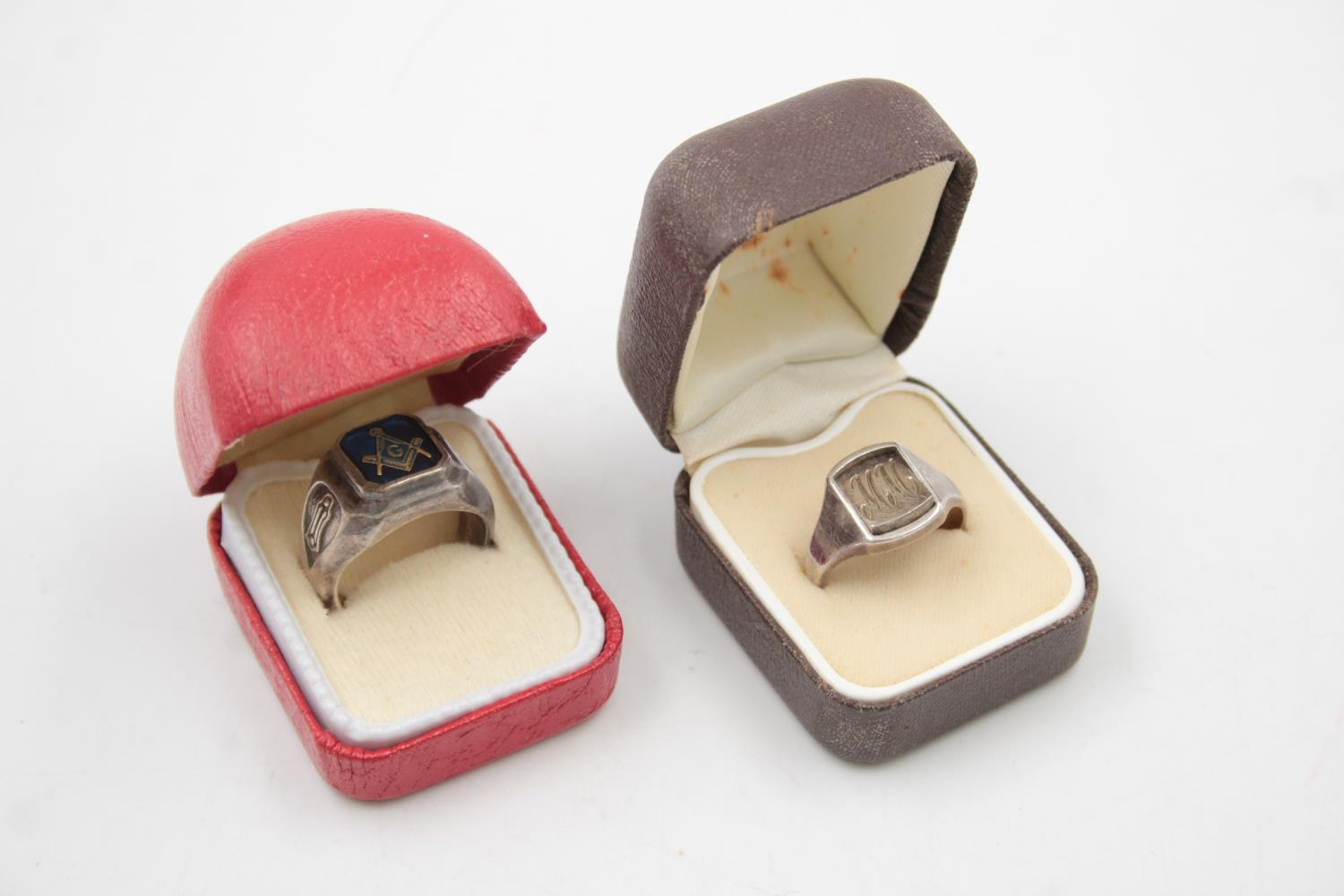 2 x Vintage Gents Stamped .925 STERLING SILVER Masonic Rings Boxed (18g)
