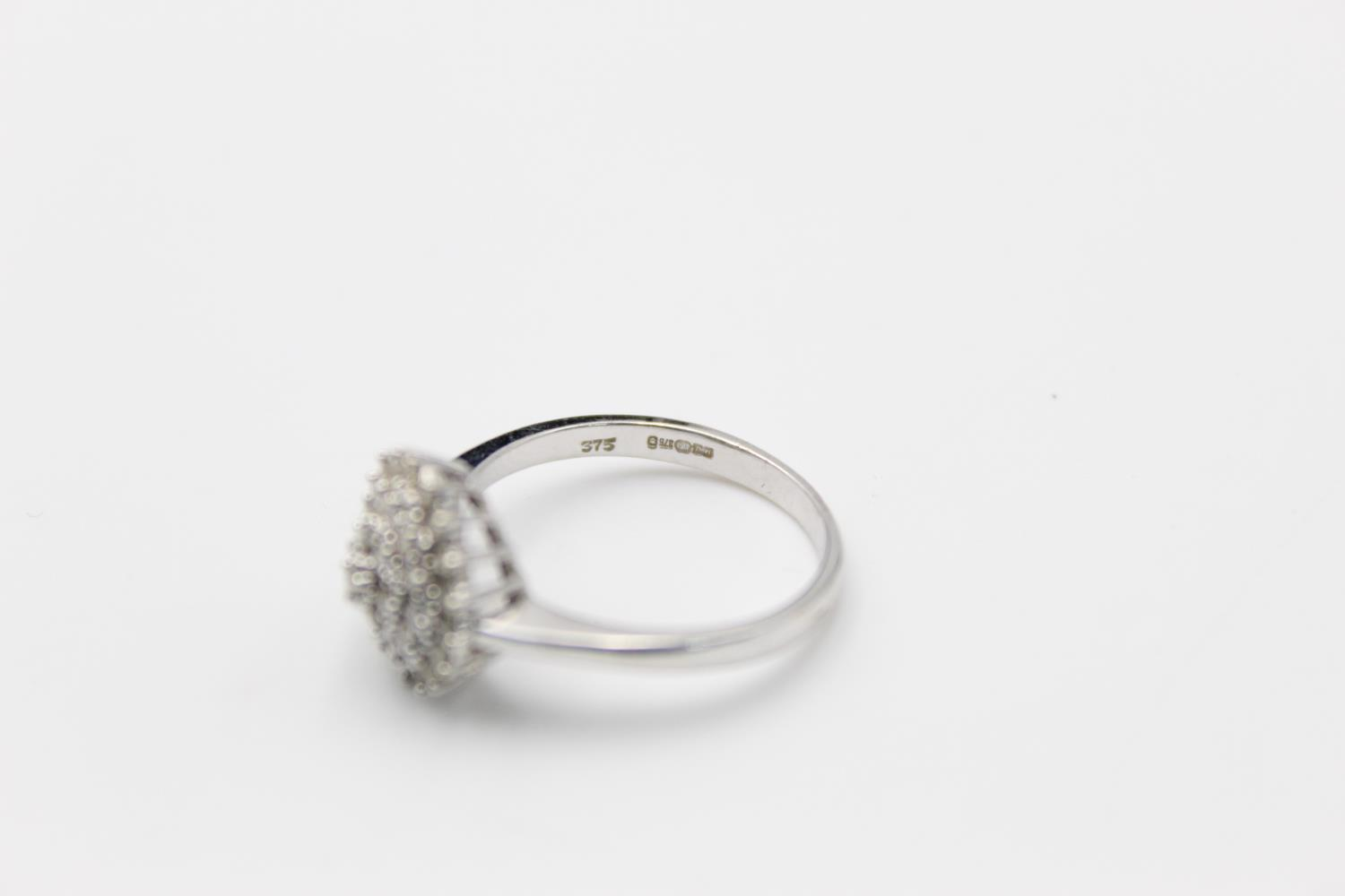 9ct white gold diamond cluster ring 3.4g Size P - Image 5 of 5