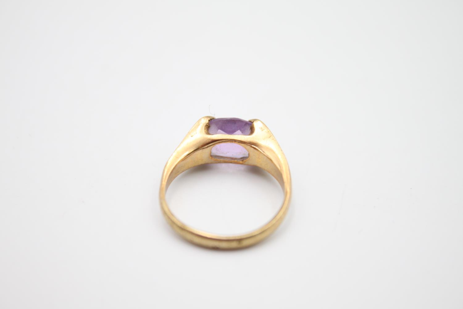 2 x 9ct gold amethyst rings inc modernist, solitaire 4.6g Size L & N - Image 4 of 6