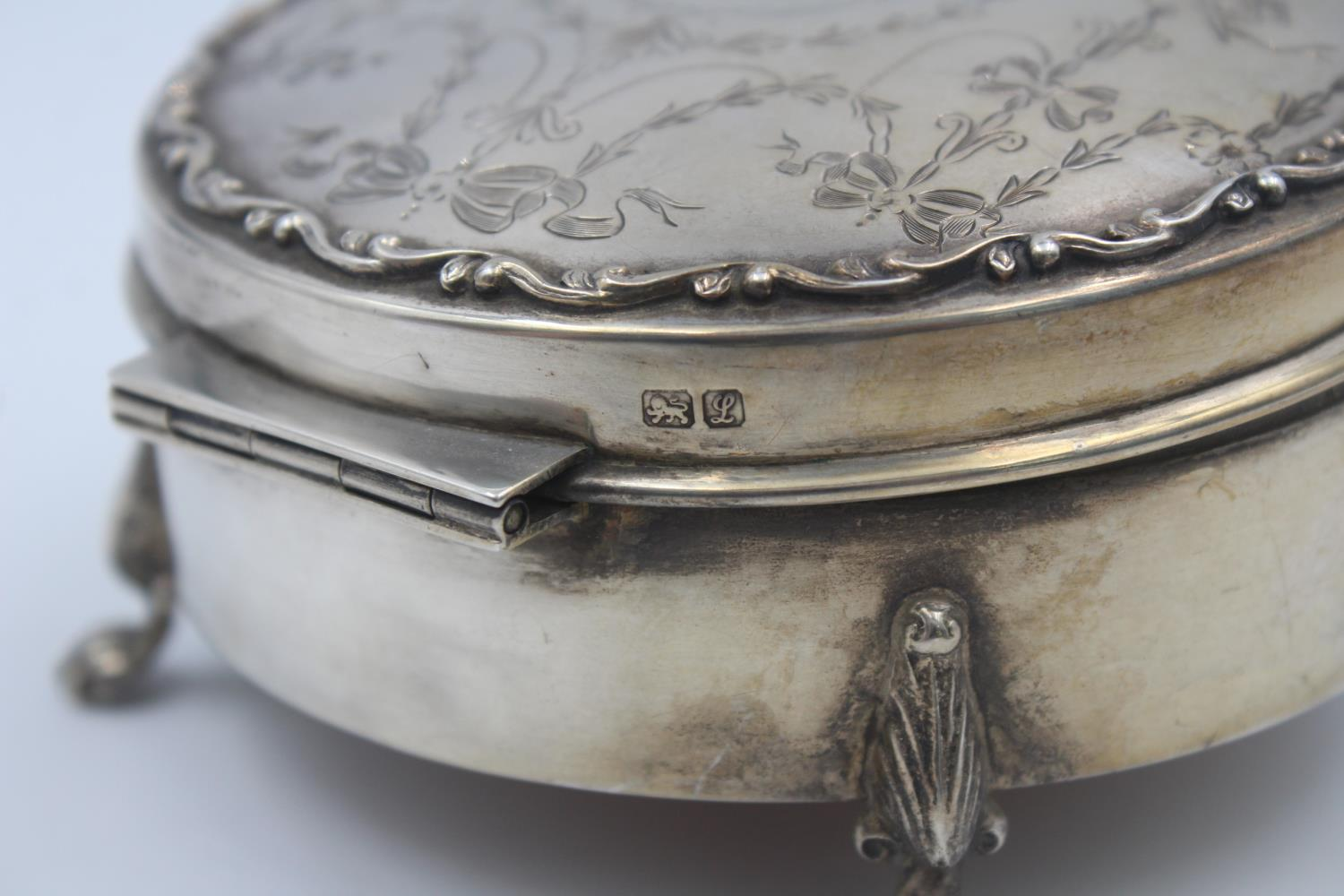 Antique Hallmarked 1912 Chester STERLING SILVER Jewellery / Trinket Box (135g) - Image 4 of 4