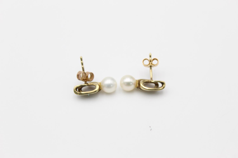 2 x 9ct gold diamond earrings inc pearl, hoops 3.9g - Image 4 of 9
