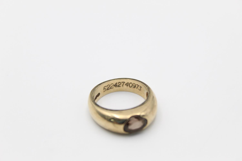 vintage 9ct gold smoky quartz signet style ring 7g Size O - Image 5 of 5
