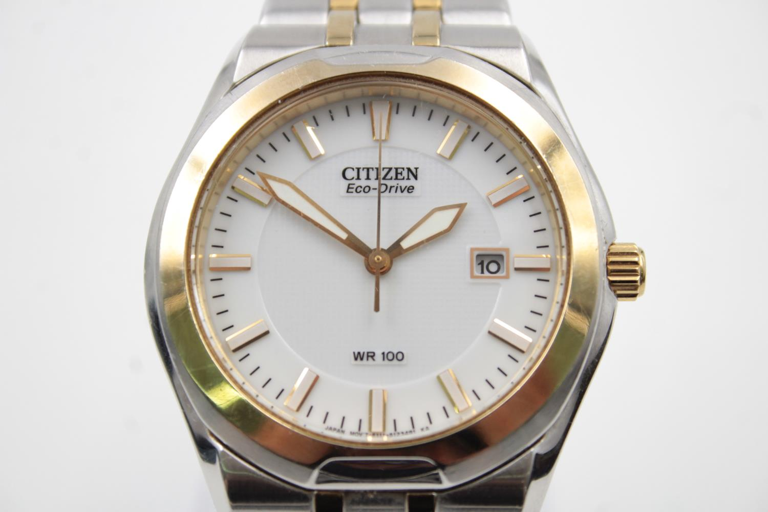Gents CITIZEN Eco-Drive WR100 Two Tone WRISTWATCH WORKING in Original Box - Image 3 of 7