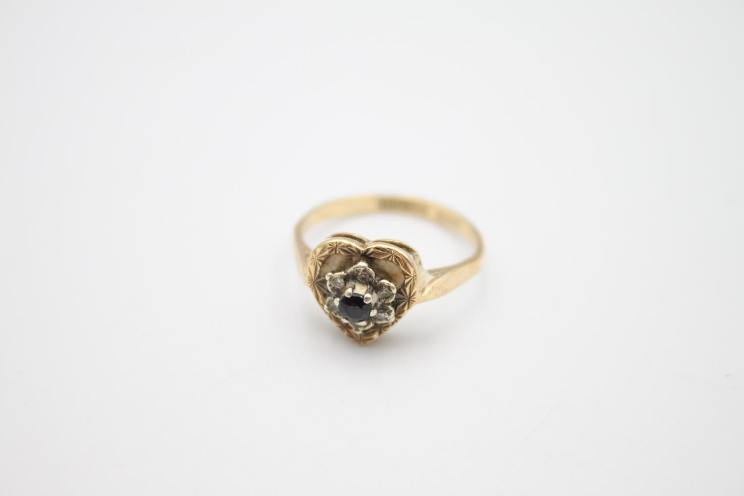 9ct gold diamond sapphire cluster ring 2.7g Size L