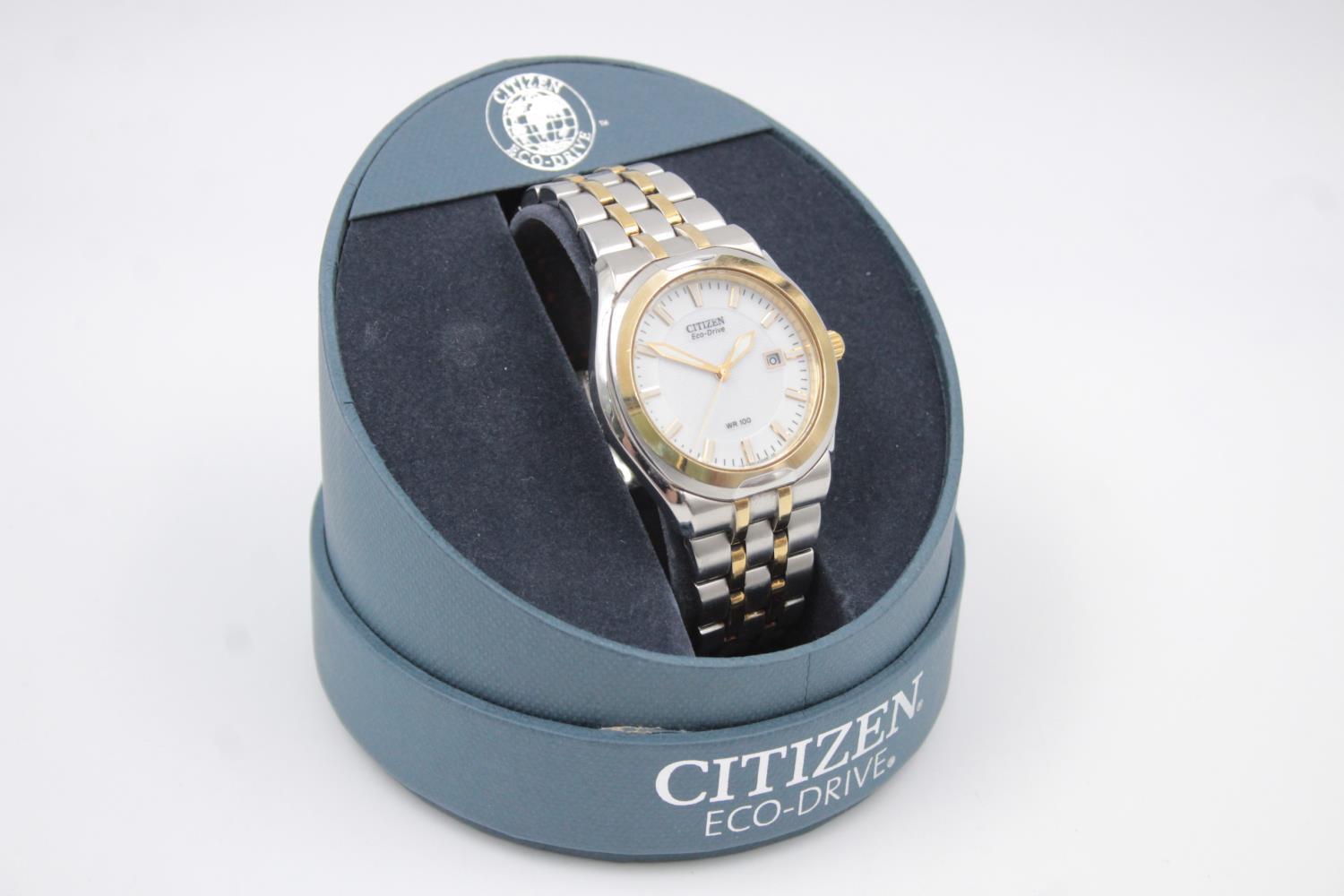 Gents CITIZEN Eco-Drive WR100 Two Tone WRISTWATCH WORKING in Original Box