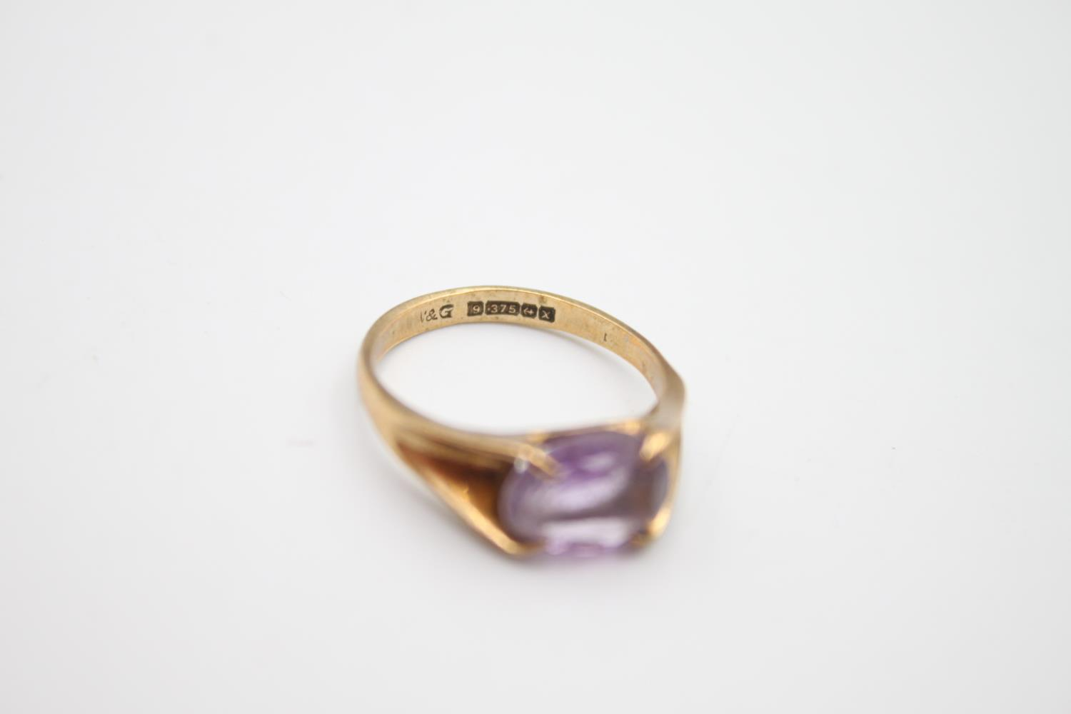2 x 9ct gold amethyst rings inc modernist, solitaire 4.6g Size L & N - Image 3 of 6