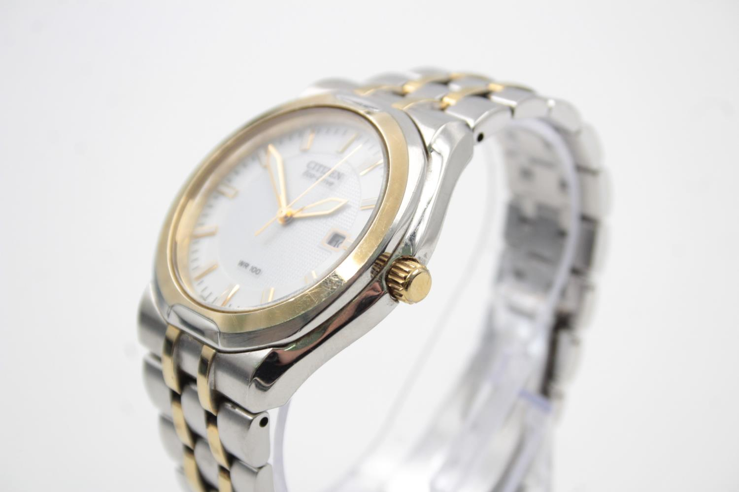 Gents CITIZEN Eco-Drive WR100 Two Tone WRISTWATCH WORKING in Original Box - Image 4 of 7