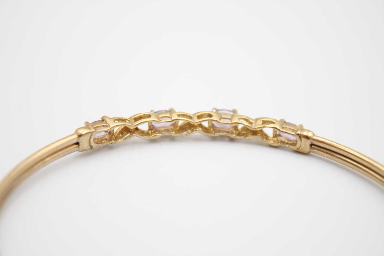9ct gold amethyst and diamond bangle 4.2g - Image 4 of 5