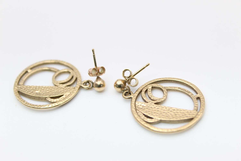 9ct Gold celtic cutwork drop earrings, maker JS 6.2g - Image 4 of 4