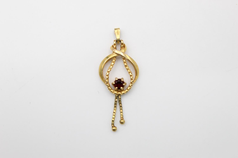 vintage 9ct gold garnet set drop pendant 2g