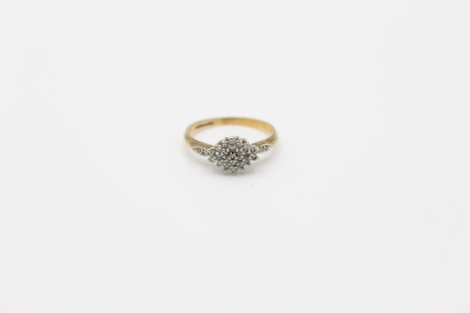 Vintage 9ct Gold diamond cluster ring 2.5g Size p