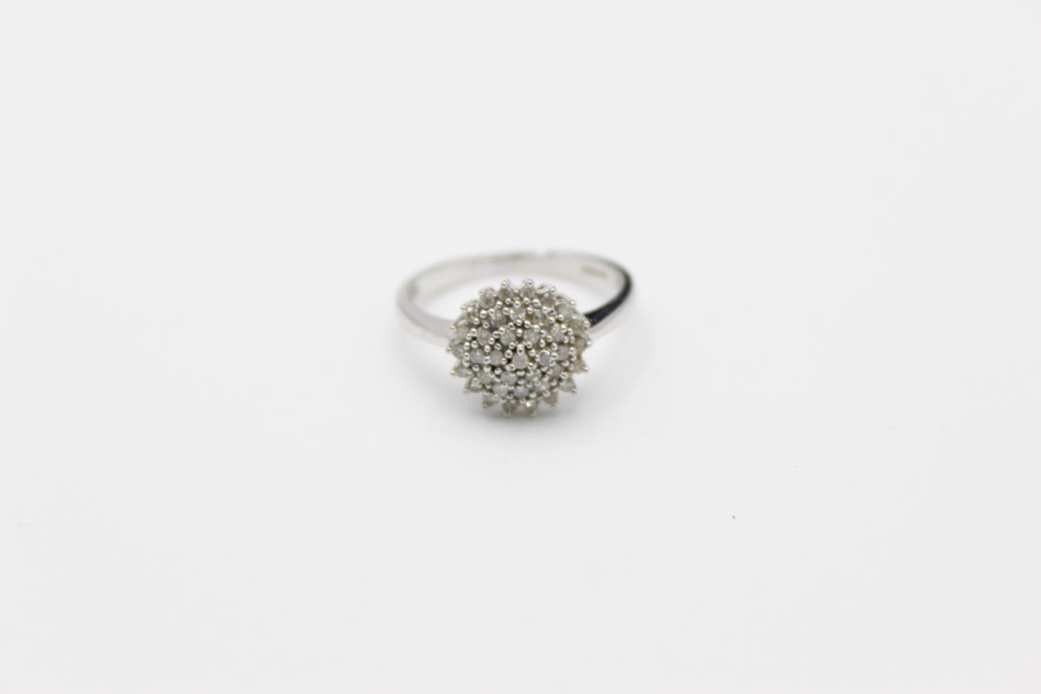 9ct white gold diamond cluster ring 3.4g Size P