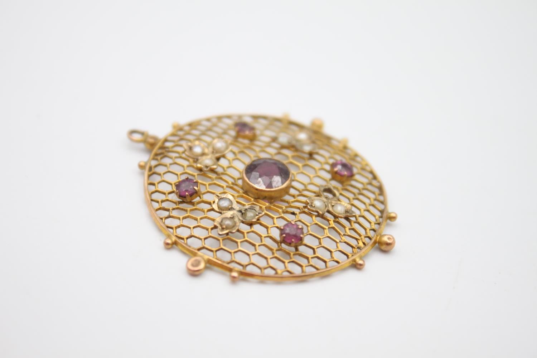 antique 9ct gold pendants inc. pearl, garnet 4.8g - Image 4 of 5