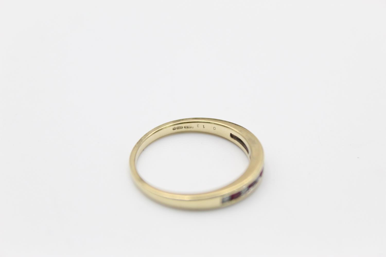 9ct Gold ruby & diamond half eternity ring 2.3g Size P - Image 5 of 5