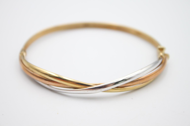 9ct gold tri-tone stylised bangle 5.6g