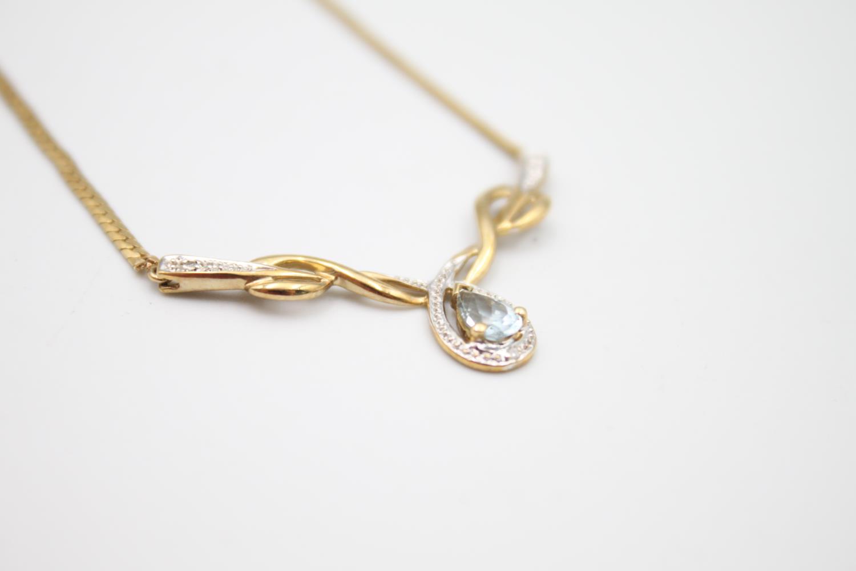 9ct gold diamond & blue gemstone static pendant necklace 5.7g - Image 3 of 4