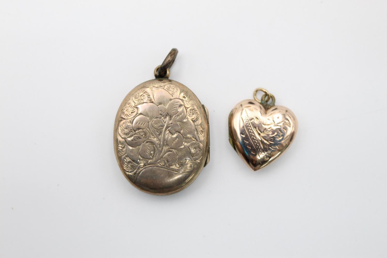 4 x vintage 9ct gold back & front lockets 17.7g - Image 2 of 7