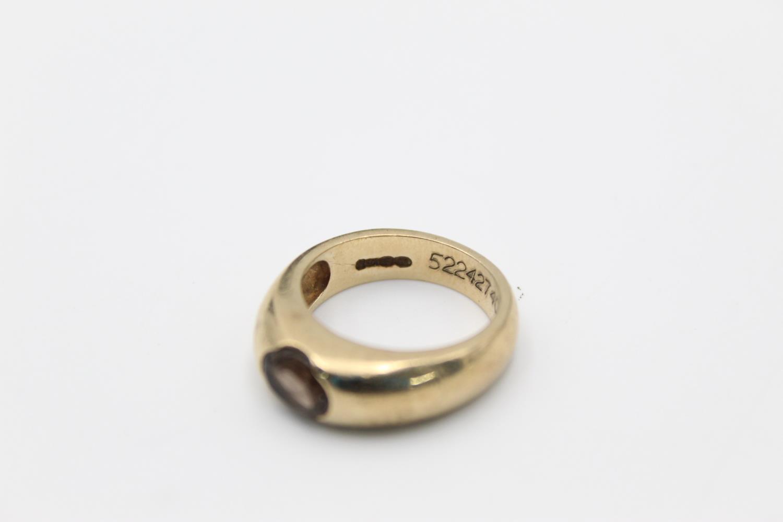 vintage 9ct gold smoky quartz signet style ring 7g Size O - Image 4 of 5