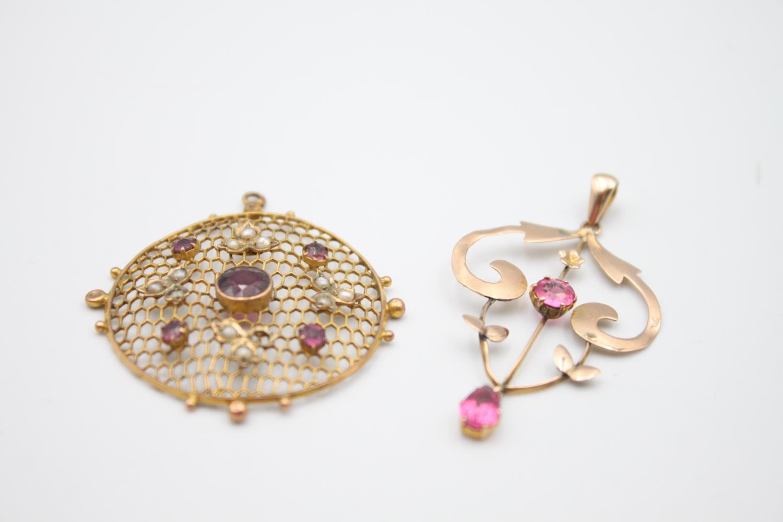 antique 9ct gold pendants inc. pearl, garnet 4.8g