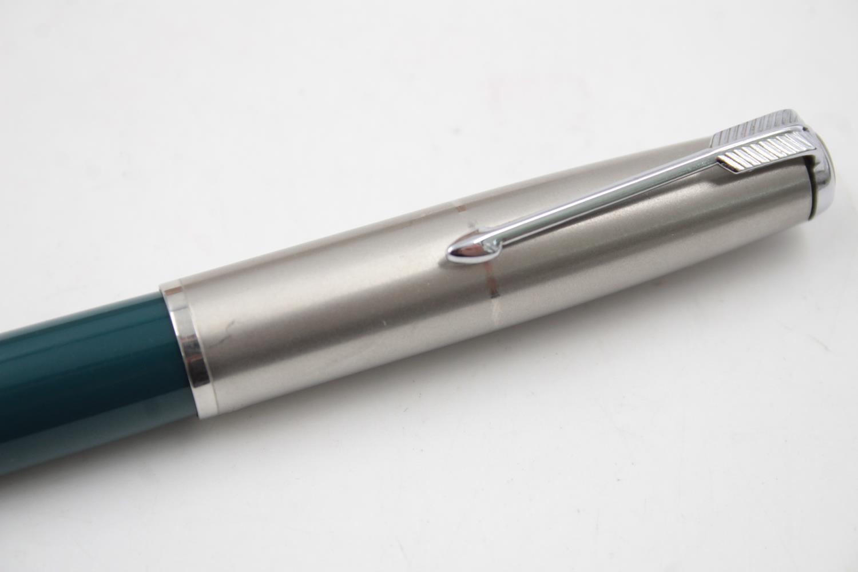 Vintage PARKER 51 Teal FOUNTAIN PEN w/ Brushed Steel Cap, Pencil, Original Box - Image 4 of 12