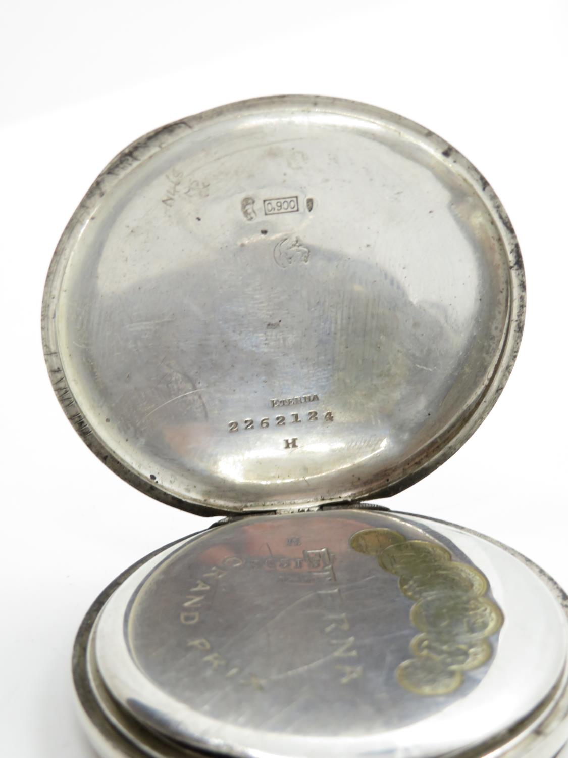 900 silver cased eterna gents vintage open face pocket watch hand wind / 16 jewels - Image 4 of 7