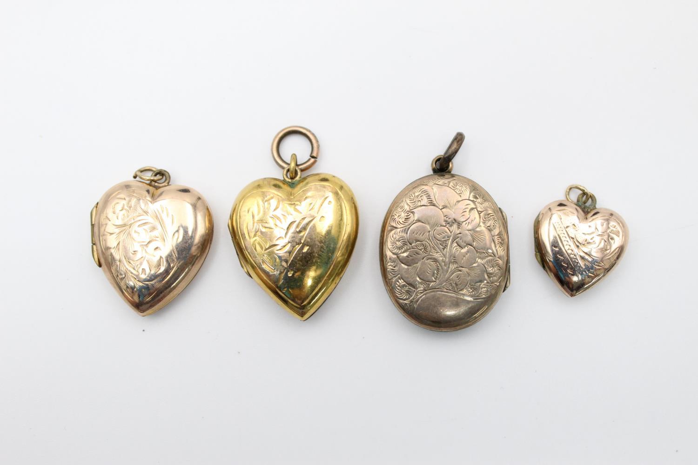 4 x vintage 9ct gold back & front lockets 17.7g