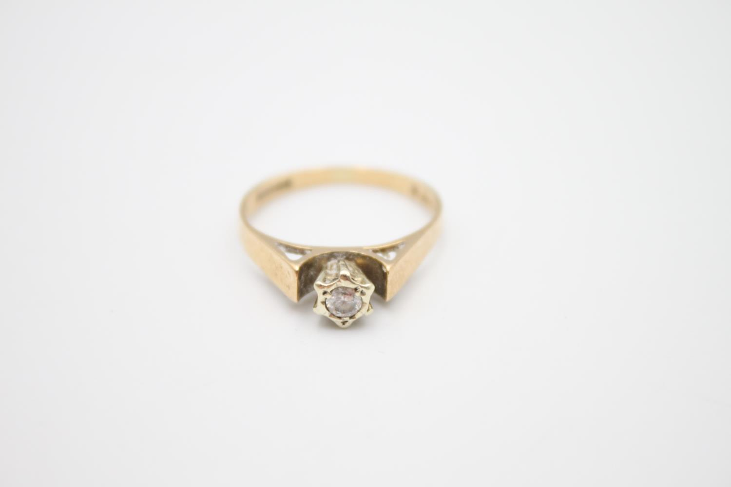 vintage 9ct gold diamond solitaire ring 1.8g Size M