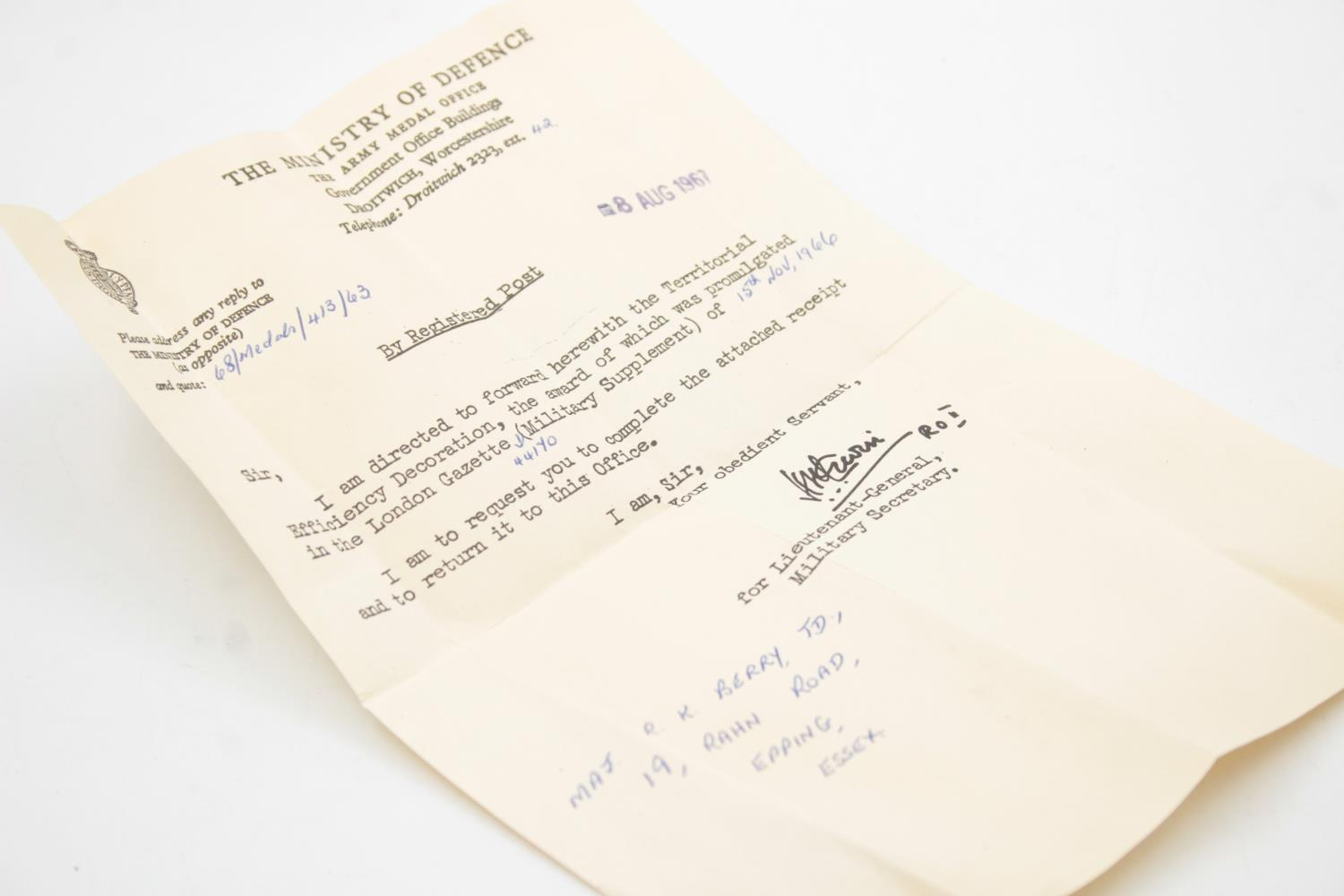 Boxed ERII Officers Territorial Decoration Dated 1966 w/ Award Letter - Image 4 of 5