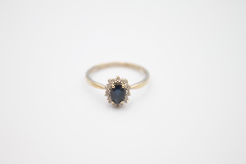 vintage 9ct gold sapphire & diamond halo ring 1.7g Size M