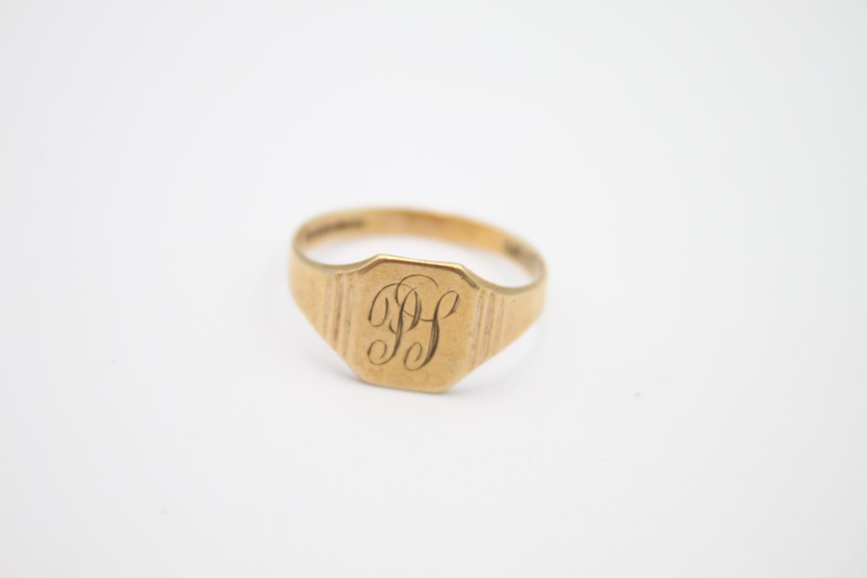 2 x vintage 9ct gold engraved signet rings 5.1g Size U & N - Image 3 of 6