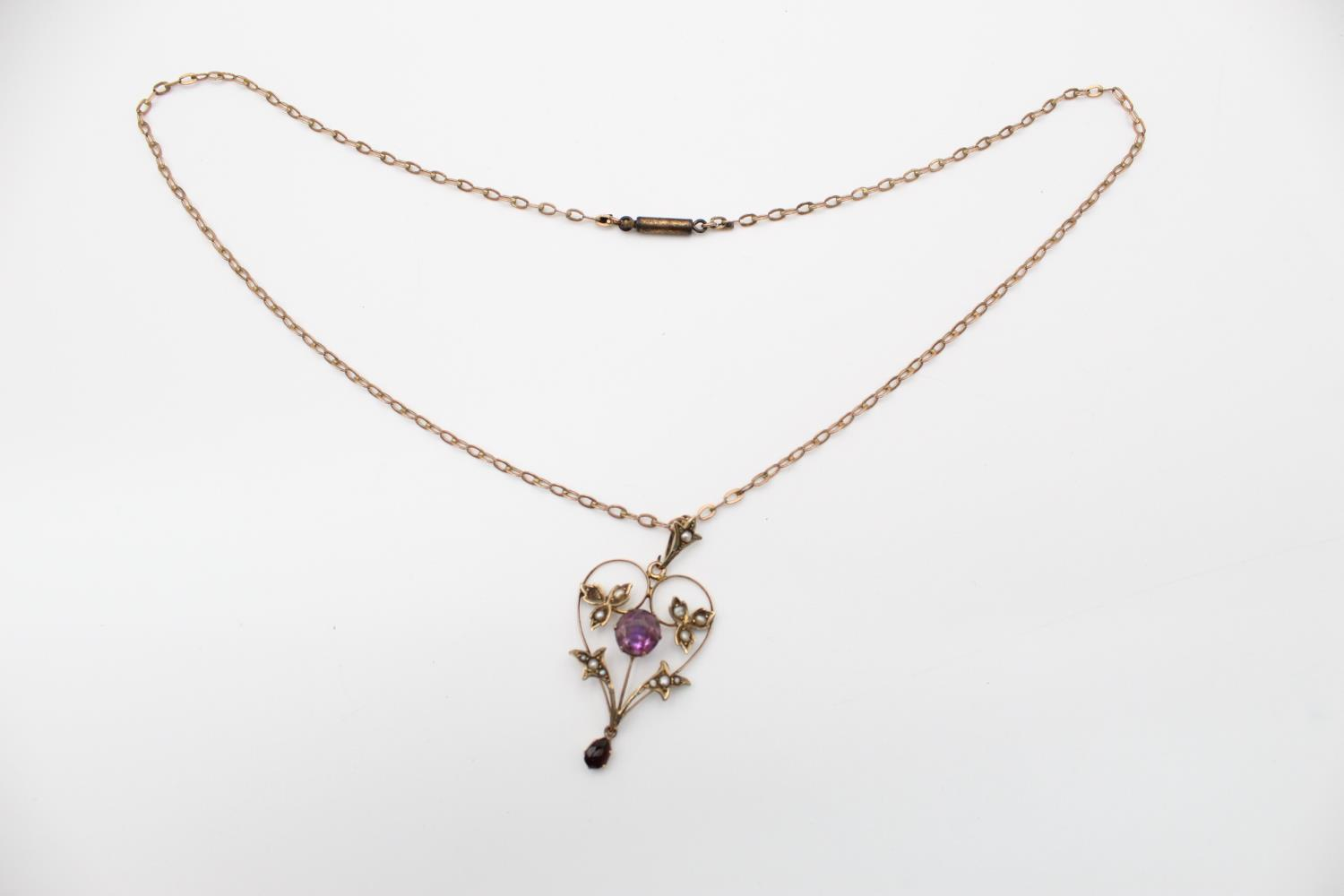 Antique 9ct Gold amethyst & seed pearl pendant necklace *one seed pearl missing 3.7g - Image 2 of 5