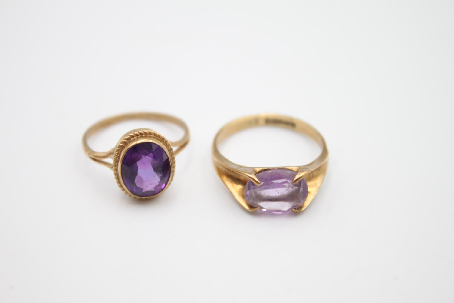 2 x 9ct gold amethyst rings inc modernist, solitaire 4.6g Size L & N