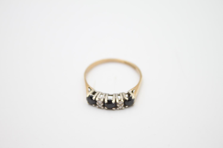 vintage 9ct gold diamond & sapphire 5 stone ring 2g Size P