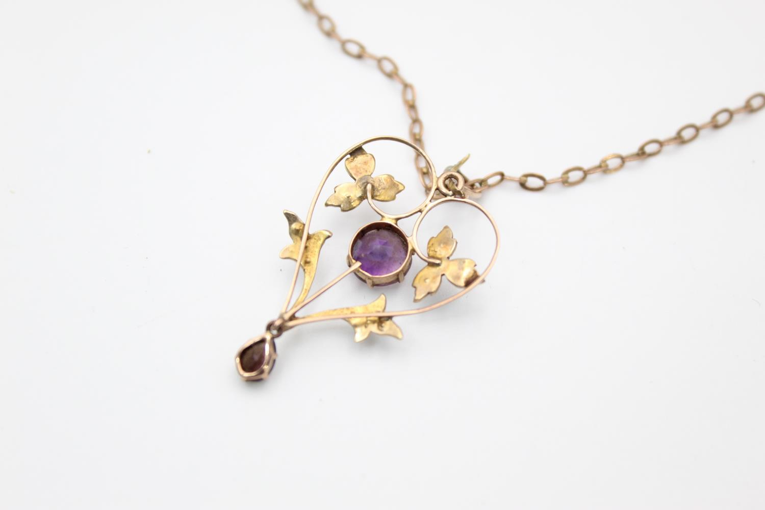 Antique 9ct Gold amethyst & seed pearl pendant necklace *one seed pearl missing 3.7g - Image 4 of 5