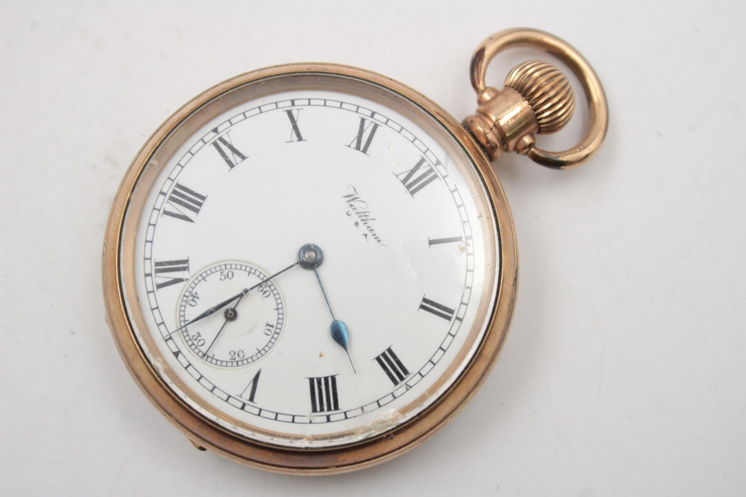 Vintage Gents WALTHAM Rolled Gold Open Face POCKET WATCH Hand-Wind (102g) - Image 2 of 6