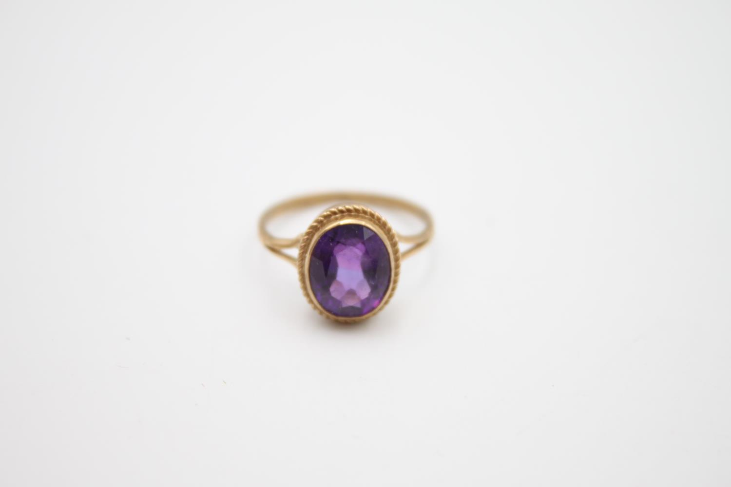 2 x 9ct gold amethyst rings inc modernist, solitaire 4.6g Size L & N - Image 5 of 6